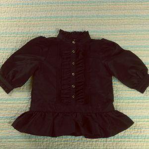 Ralph Lauren Girls 6M Black Pintuck Ruffles Shirt